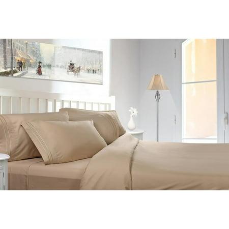 Clara Clark 1800 Series Deep Pocket 4pc Bed Sheet Set King Size, Cream ()