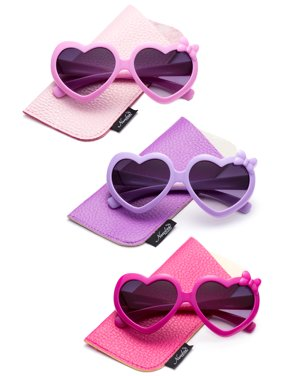Newbee Fashion- Girls Heart Sunglasses with Bow Cute Heart Shaped Sunglasses for Girls Fashion Sunglasses UV Protection w/Carrying Pouch