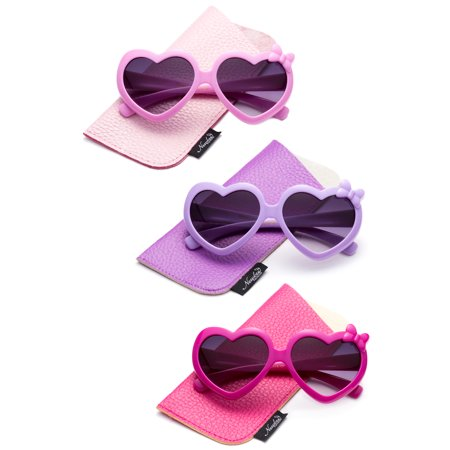 Newbee Fashion- Girls Heart Sunglasses with Bow Cute Heart Shaped Sunglasses for Girls Fashion Sunglasses UV Protection w/Carrying (Hipster Glasses For Girls)