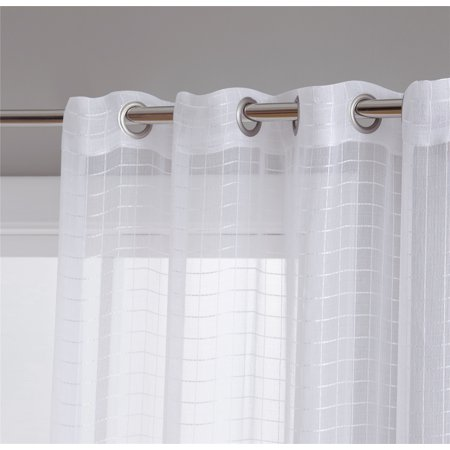 - HLC.ME Buffalo Check Gingham Sheer Voile Window Curtain Long Grommet Panels - Perfect for Living Room, Bedroom & Kitchen - Set of 2