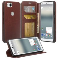 Google Pixel 2 XL Case, Leather Wallet Case with [Kickstand] ID&Credit Card Slot For Google Pixel 2 XL (2017 Release) - Brown