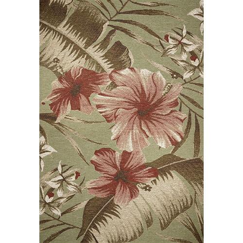 KAS Rugs Horizon Sage Green Floral Hibiscus Indoor/Outdoor Area Rug