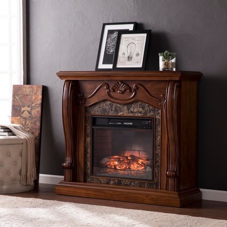 Adara Faux Marble Infrared Electric Fireplace, Walnut ()