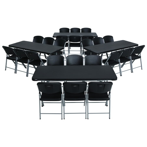 Lifetime 4 6-Foot Nesting Tables with 24 Folding Chairs Black by Overstock