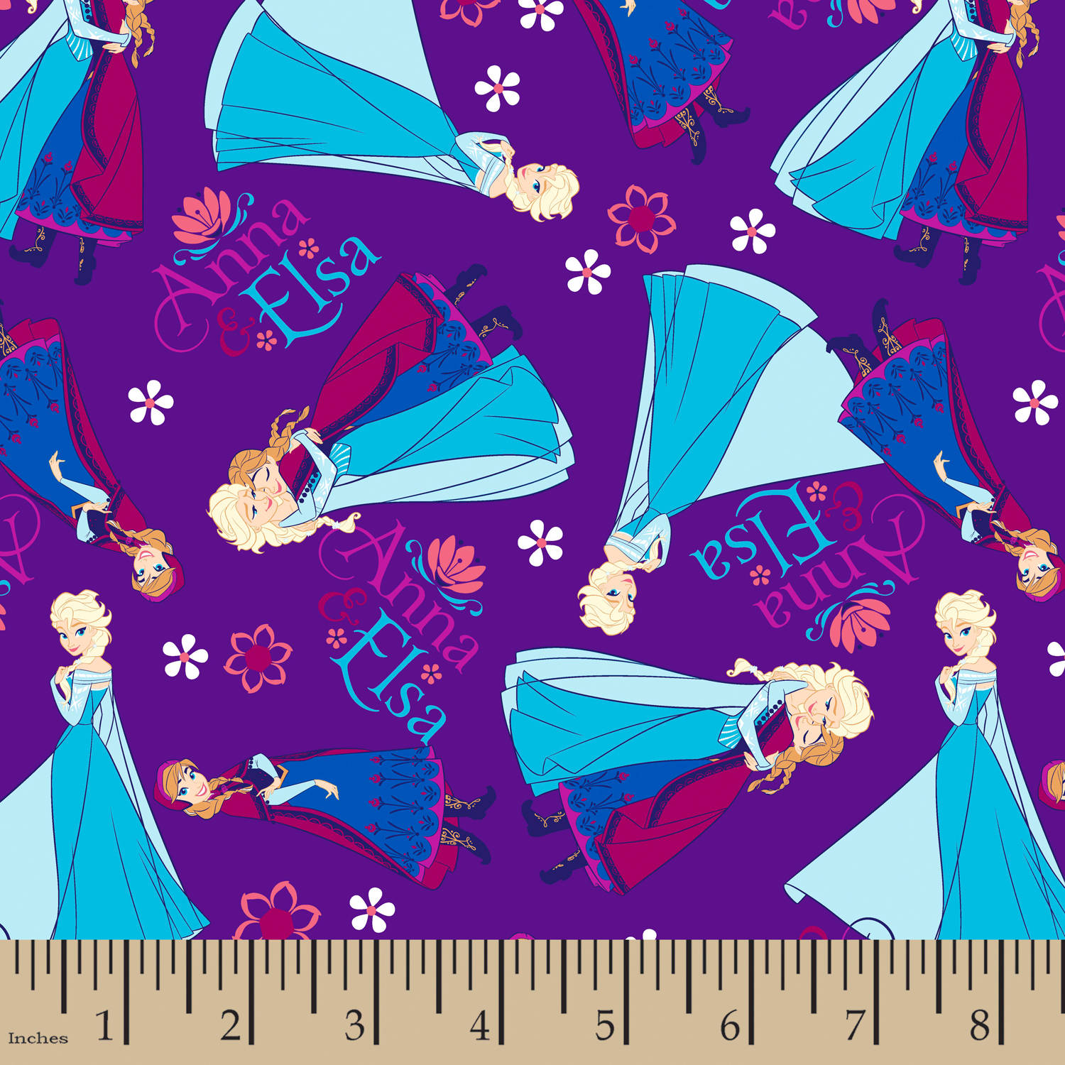 "Disney Frozen Anna & Elsa, Flannel, Purple, 42/43"" Width, Fabric by the Yard"