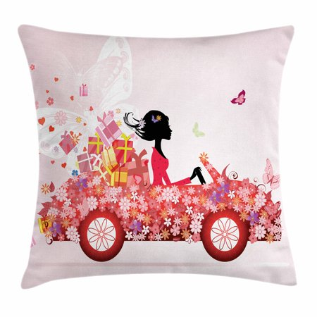 Cars Throw Pillow Cushion Cover, Girl on a Car with Floral Present Boxes Butterflies Daisies Little Hearts, Decorative Square Accent Pillow Case, 20 X 20 Inches, Pink Dark Coral Black, by Ambesonne (Butterfly Car)