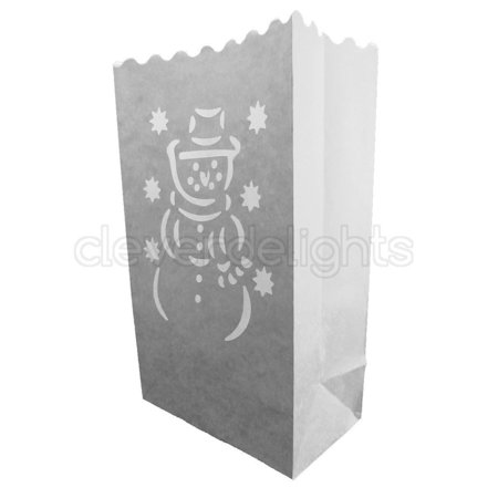 CleverDelights White Luminary Bags - 20 Count - Snowman Design