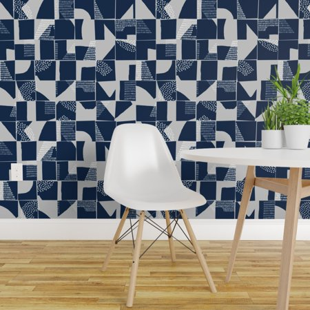Peel And Stick Removable Wallpaper Geometric Abstract Blue And Large Scale Walmart Com