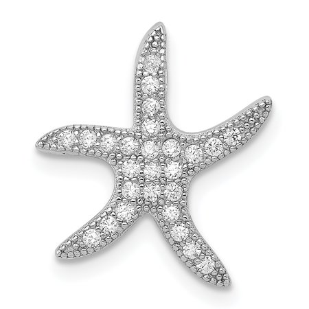 925 Sterling Silver Cubic Zirconia Cz Starfish Slide Pendant Charm Necklace Chain Gifts For Women For -