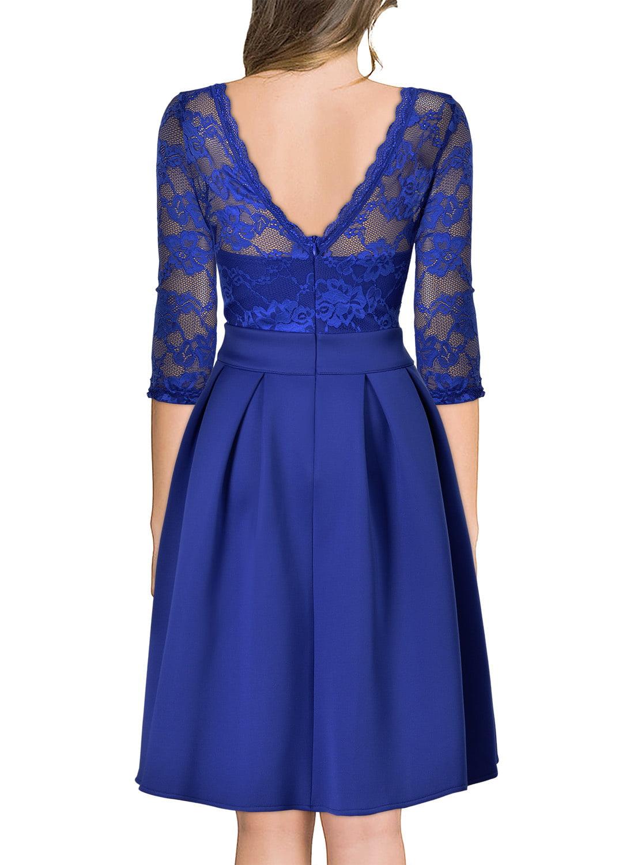 9324dc174d37d Miusol - MIUSOL Women s Vintage Floral Lace 2 3 Sleeve Cocktail Party  Dresses for Women (Bright Blue M) - Walmart.com