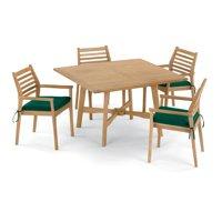 Wexford 5 Piece Natural Shorea Patio Dining Set W/ 48 Inch Square Table & Sunbrella Canvas Hunter Green Cushions By Oxford Garden