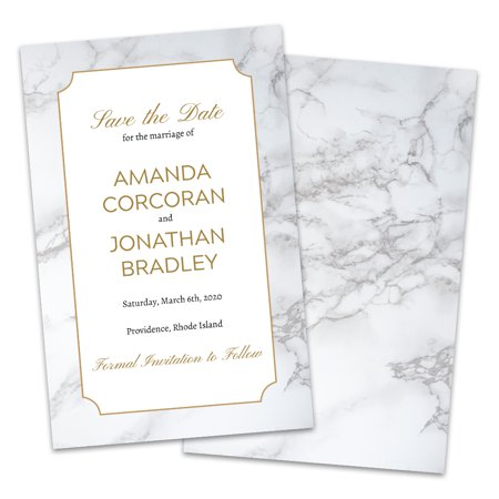 Personalized Gray & White Marble Save The Date - Halloween Due Date Pregnancy Announcement