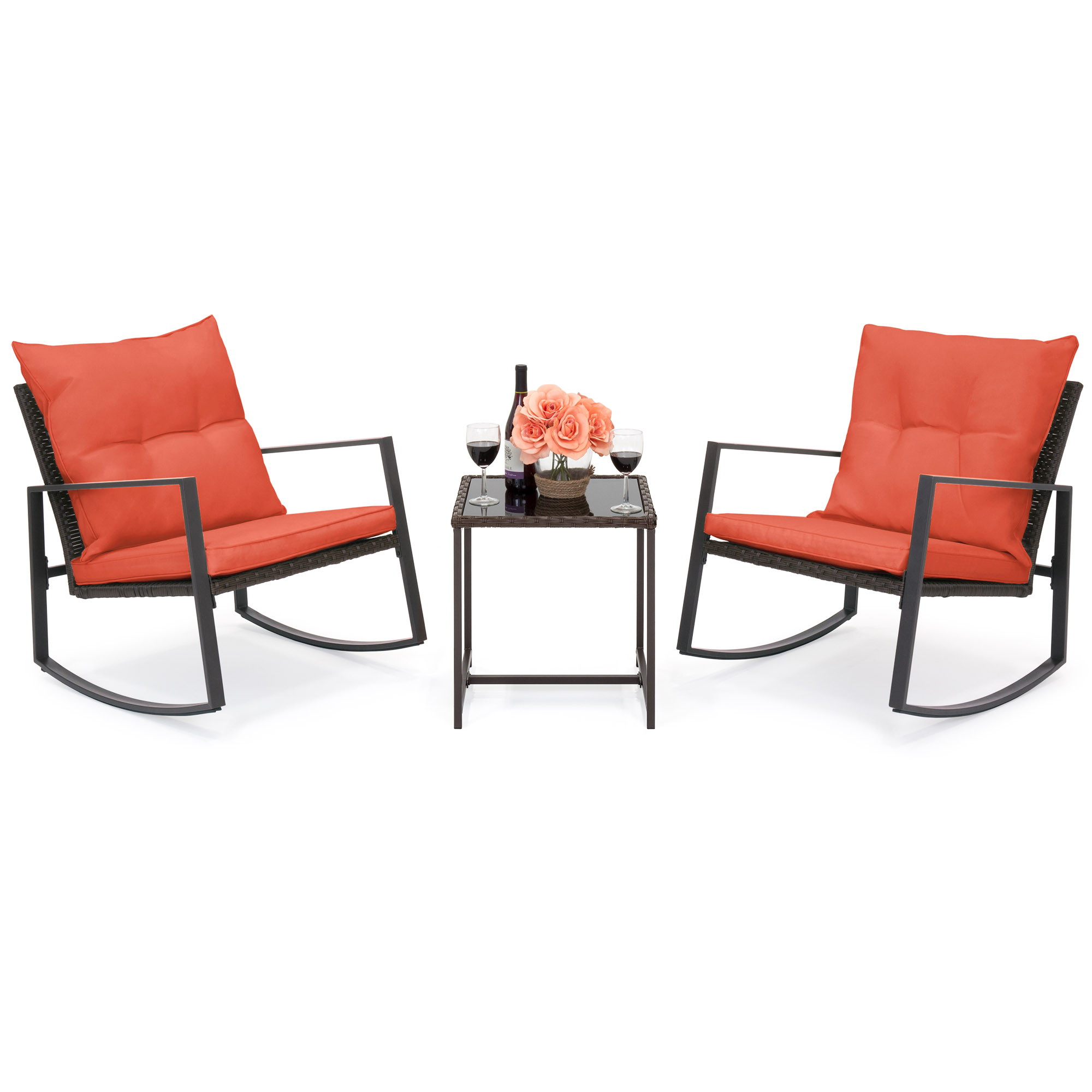 Best Choice Products 3-Piece Patio Wicker Bistro Furniture Set w/ 2 Rocking Chairs, Glass Side Table, Cushions - Red