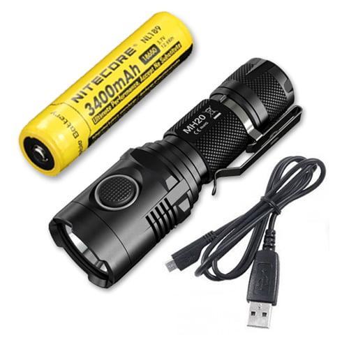 Bundle: Nitecore MH20 USB Rechargeable LED Flashlight w/NL189 18650 Battery