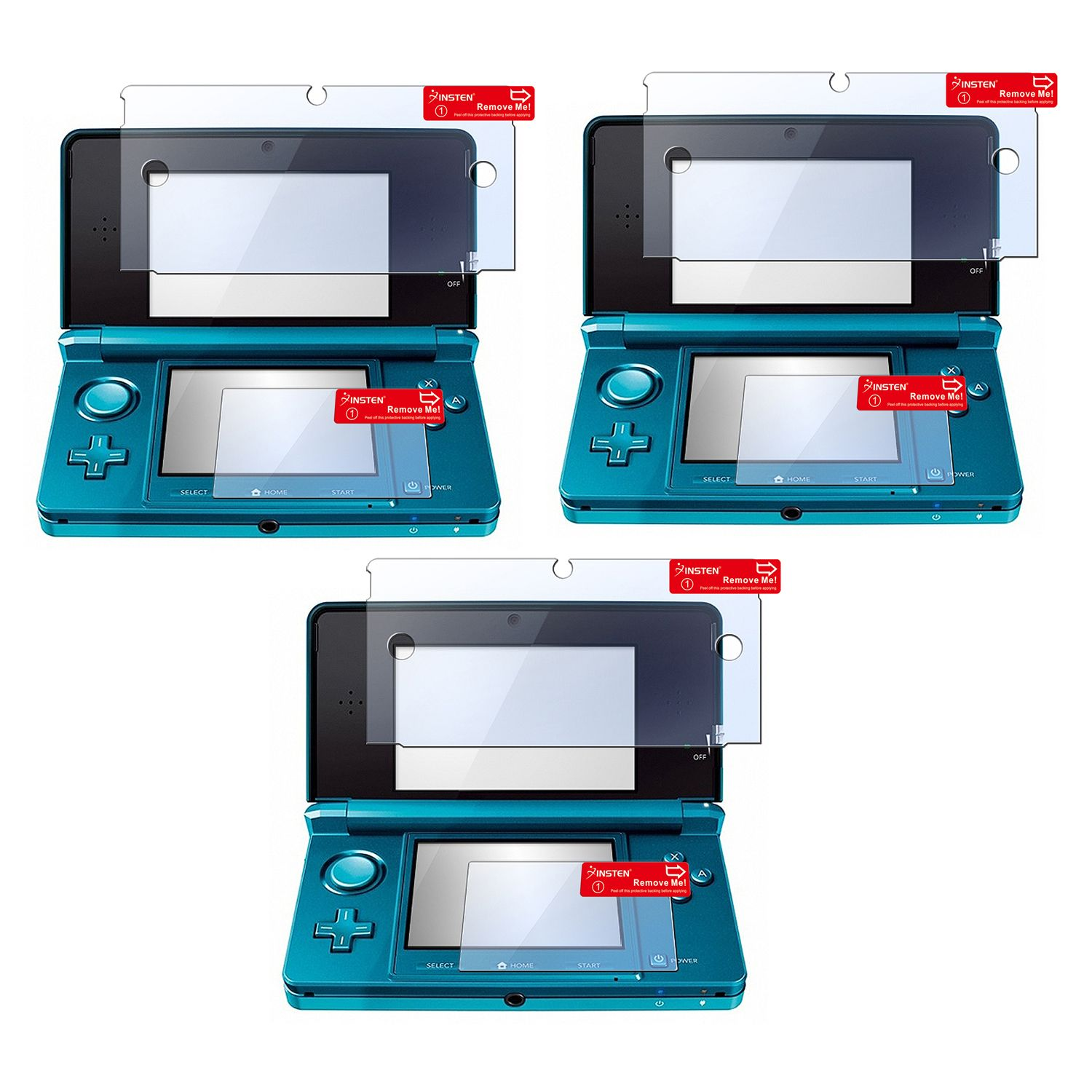 Insten 3 Pack Clear LCD Screen Protector Cover For Nintendo 3DS (Set of 2 - Top and Bottom Cover)
