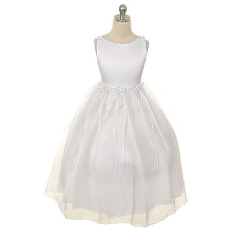 Little Girls White Rosebud Organza Flower Girl Dress 6](Little Girls White Dresses)