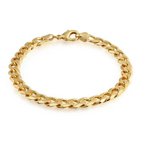 Mens Cuban Curb Link Bracelet 180 Gauge Heavy High Polish 18K Gold Plated Brass Curb Mens Gold Bracelet