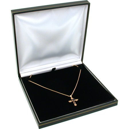 Black Leather Necklace Gift Box Jewelry Display Case (Necklace Jewelry Gift Box)