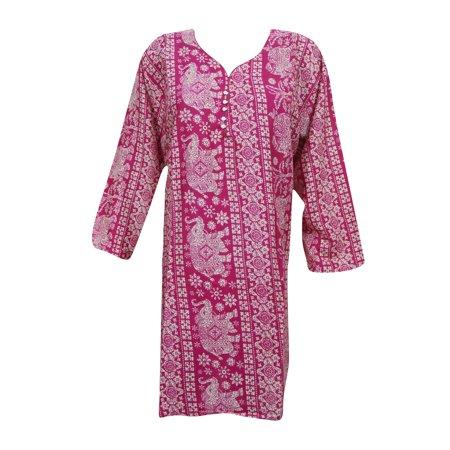 Chudidar Kurta Dress - Mogul Women's Pink Rayon Kurti Printed Summer Clothing Bohemian Kurta Dress