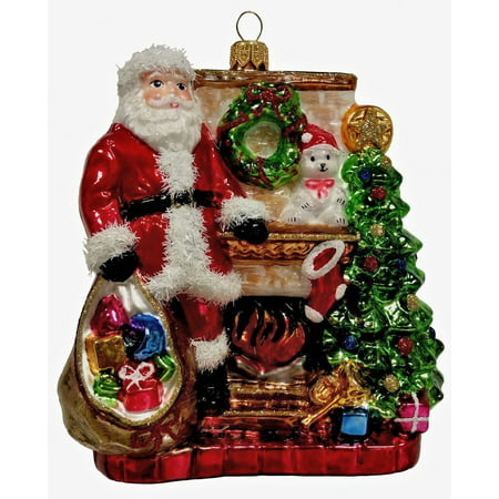 Glass Santa Christmas Tree - Santa Claus by the Fireplace with Presents Polish Glass Christmas Tree Ornament