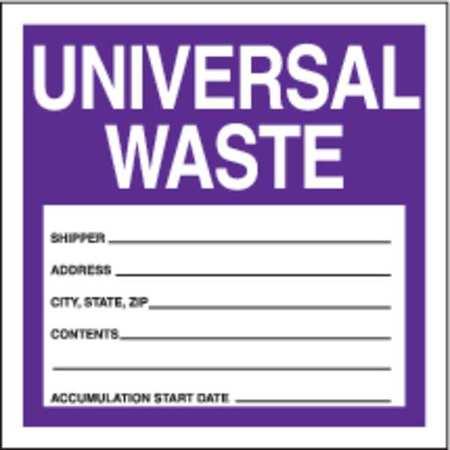 Haz Waste Label,Universal Waste,4x4 in,Poly,250/RL ACCUFORM MHZW17EVL