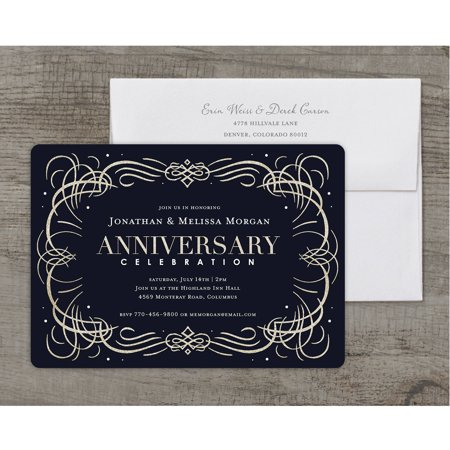 Anniversary Celebration Deluxe Party Anniversary Invitation (Black And White Party Invitations)