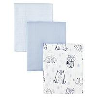 Little Star Organic 100% Pure Organic Cotton Burp Cloth, 3 Pk, Blue-Wild at Heart