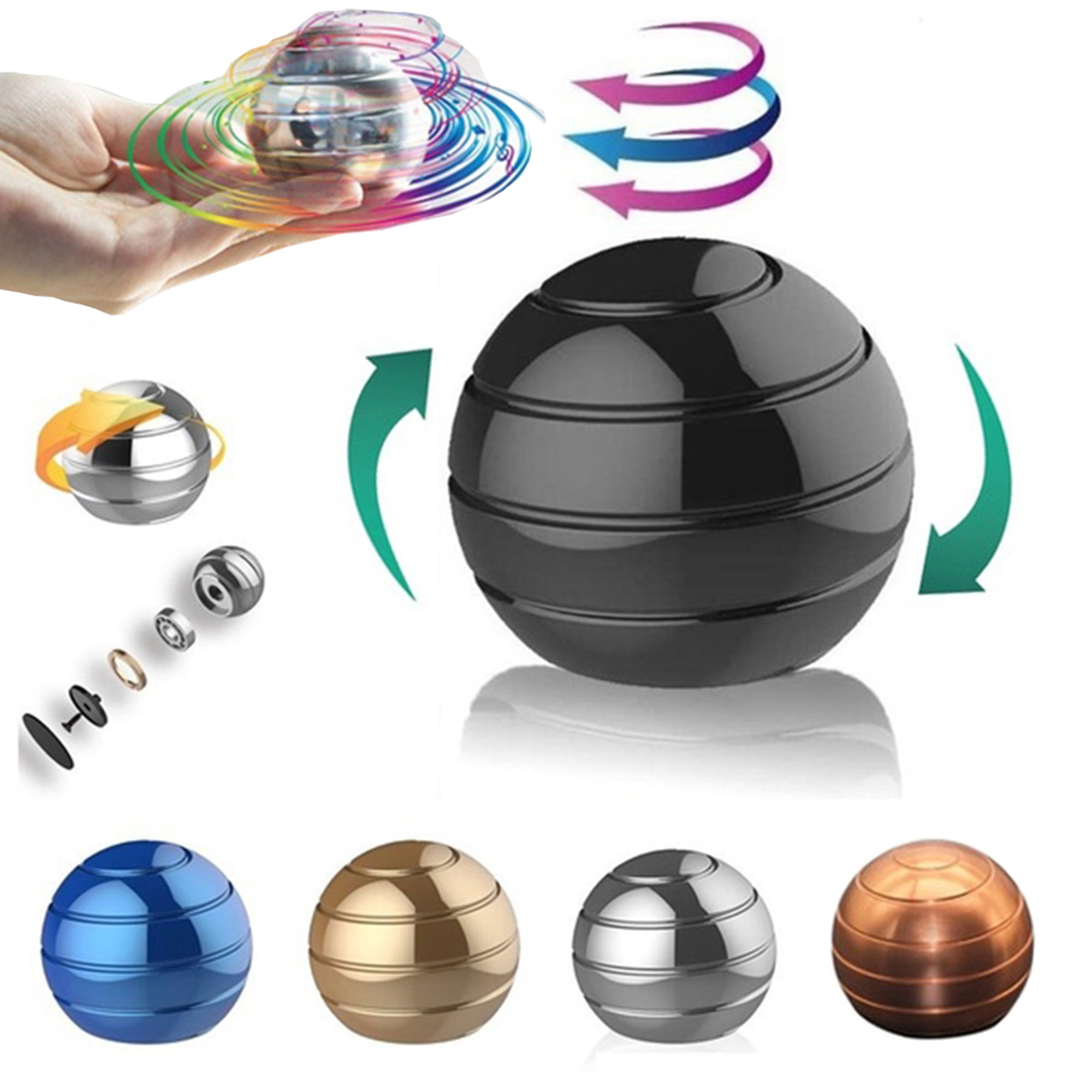 B-THERE Spinner Ball Optical Illusion Fidget Toy for Adults and Sensory Kids...