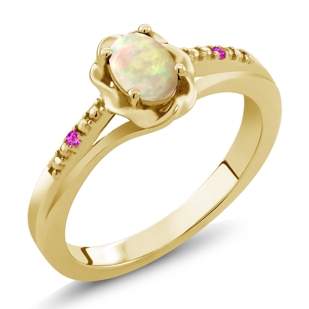 0.34 Ct Oval Cabochon White Ethiopian Opal Pink Sapphire 18K Yellow Gold Ring by