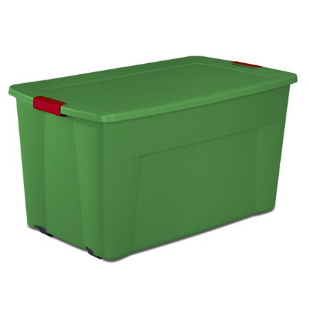 Sterilite, 45 Gal./170 L Wheeled Latch Tote, Christmas