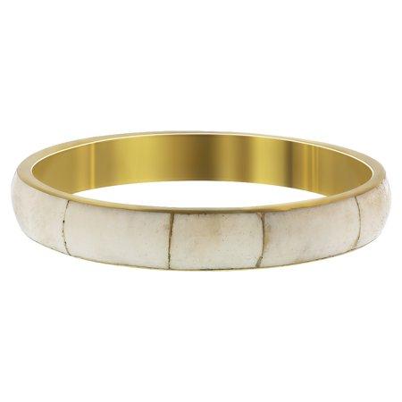Gem Avenue Gold Tone Bone Inlay Vintage Style Bangle Bracelet