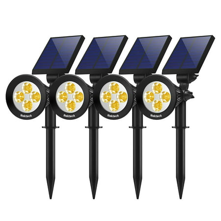 Nekteck Solar Lights Outdoor, 2-in-1 Solar Spotlights Powered 4 LED Adjustable Wall Light Landscape Lighting, Bright and Dark Sensing, Auto On/Off (4 Pack, Warm White) Adjustable Landscape Spotlight