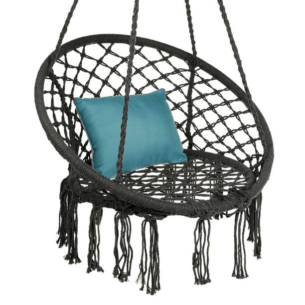 Best Choice S Hanging Cotton Hammock Swing With Fringe Tassels Black, Indoor Hammock Chairs