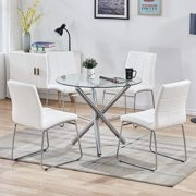 5PCS Round Dining Table Set, Tempered Glass Kitchen Dining Table And 4PCS Artificial Leather Chairs, Modern Dining Table Set For Kitchen Furniture (Table + 4PCS White Chairs)