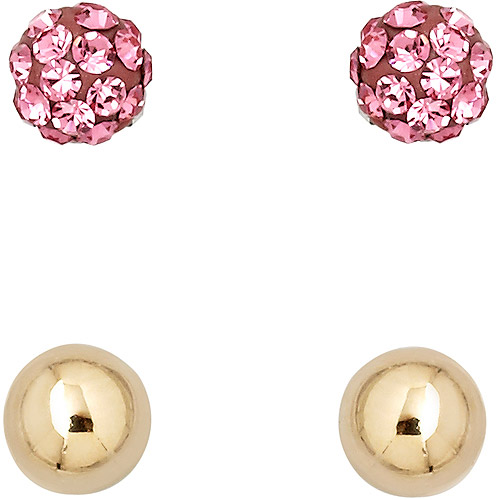 Luminesse 18kt Gold over Sterling Silver Plain and Rose Earrings Set made with Swarovski Elements