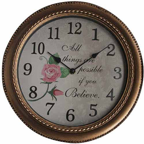Mainstays Inspirational Wall Clock Gold Walmart Com