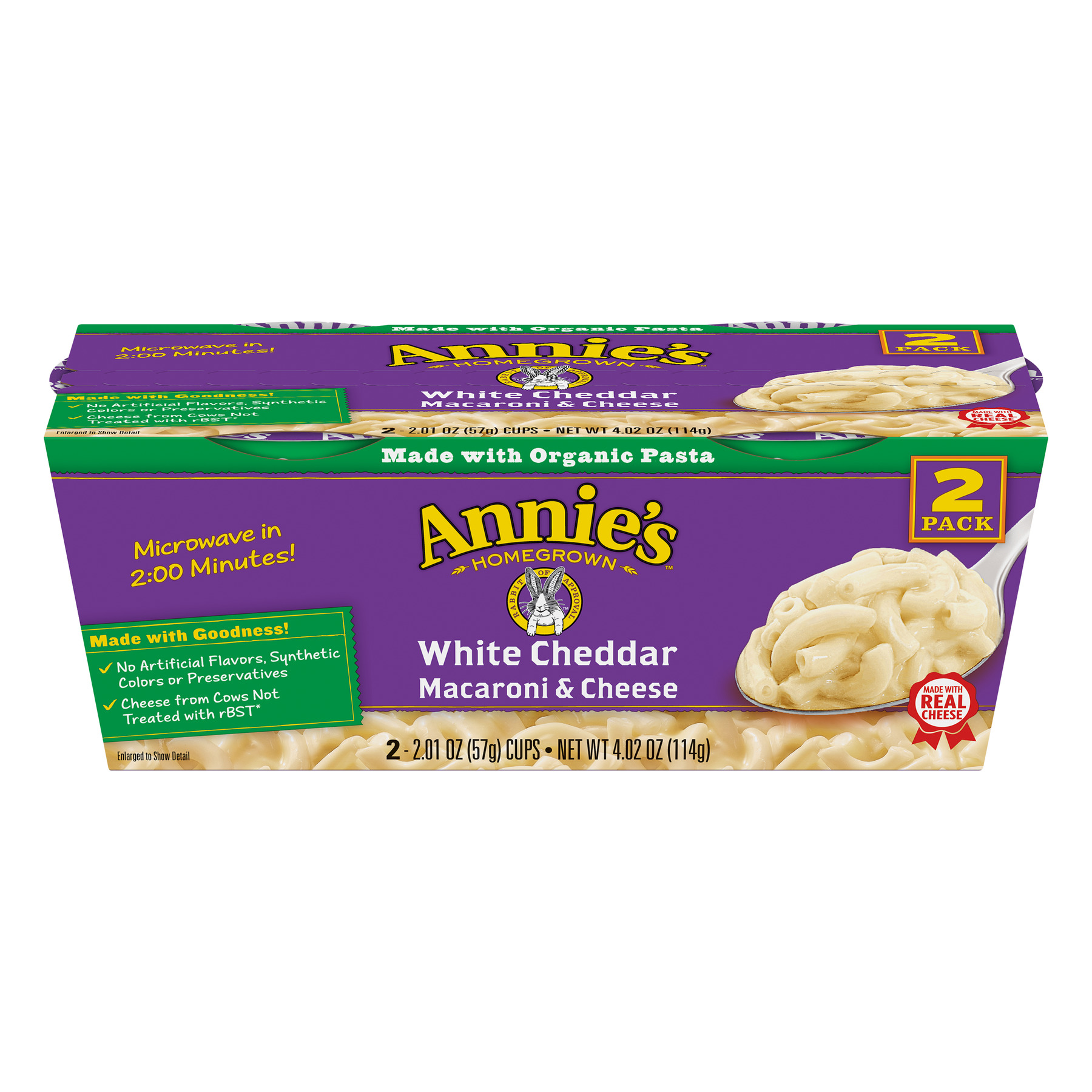 Annie's White Cheddar Macaroni and Cheese Micro Cup 2 Ct, 4.02 oz