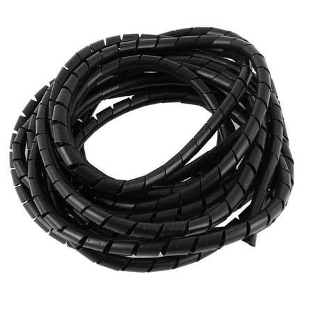 6 Meters 20ft Long 8mm Black Flexible Wire Spiral Wrap Cable Sleeving Band Tube (Black Spiral)