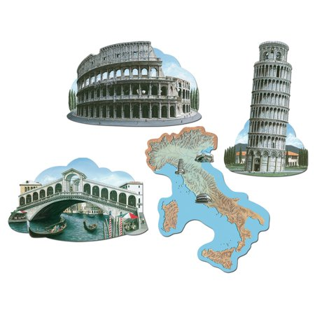 Club Pack of 48 Multi-Colored Iconic Italian Landmark Cutout Party Decorations