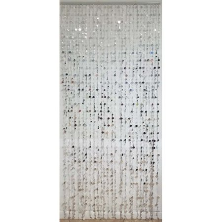 Evideco Flat Sheer Beaded Doorway Single Curtain Panel Large Premium Flat Panel