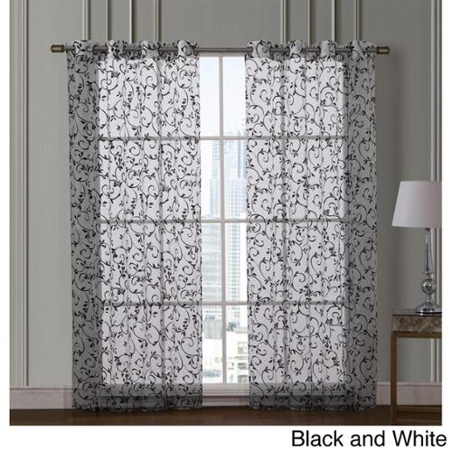 VCNY  Ariana 84-inch Flocked Grommet Curtain Panel Pair