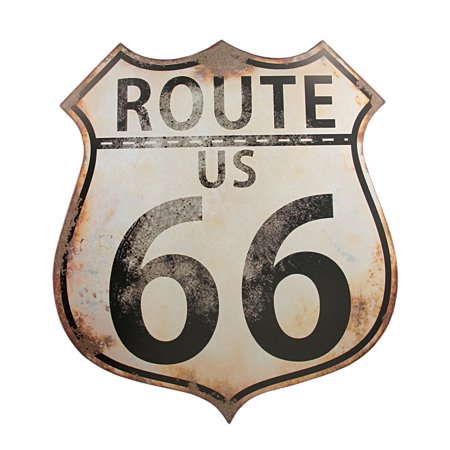 Wall Route 66 Metal Sign (Distressed Finish US Route 66 Metal Wall Sign Highway )