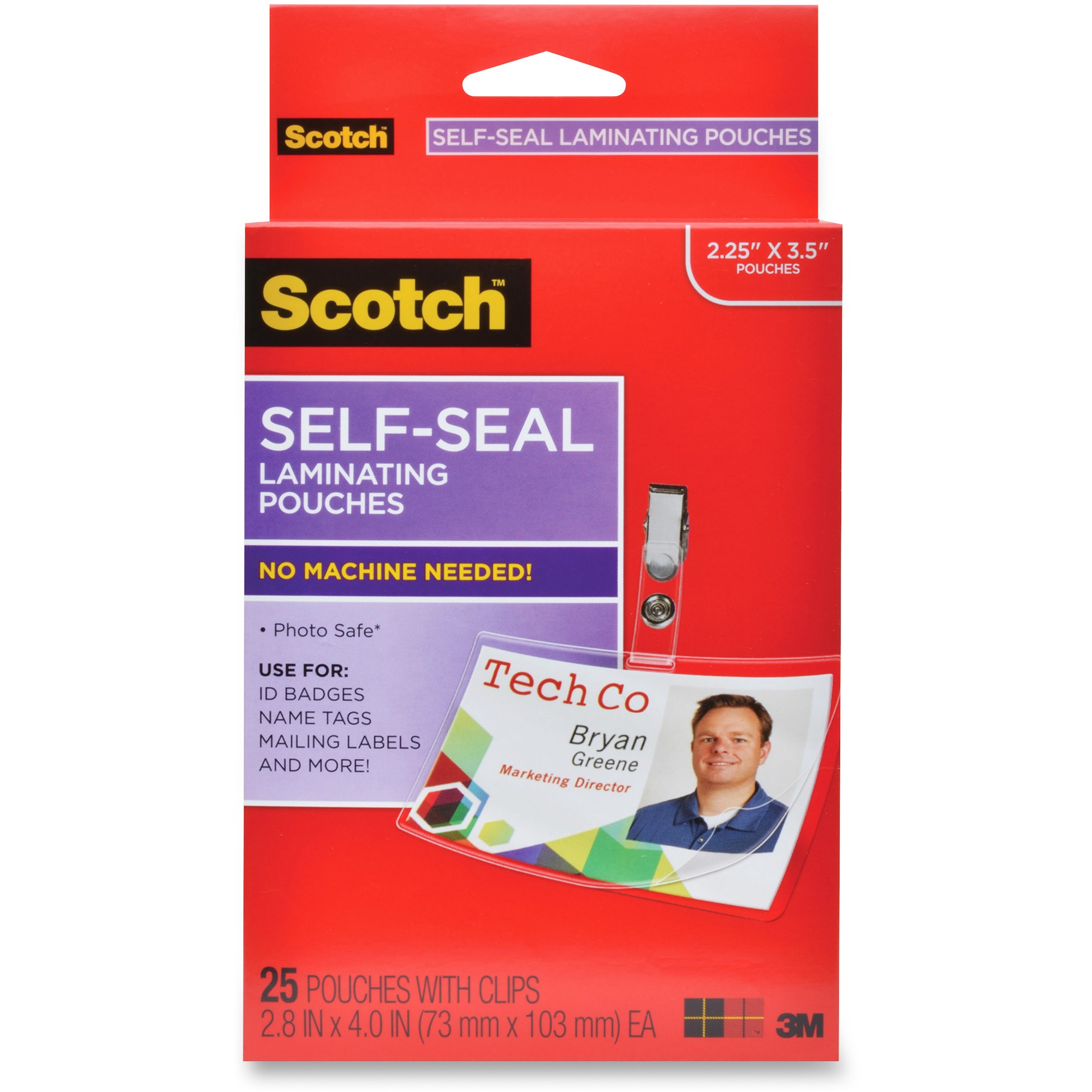Scotch Self-Seal Laminating ID Clip Pouches, 25 Sheets