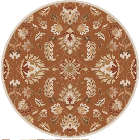 9 75 Crassus Brown And Cream Hand Tufted Round Wool Area Throw Rug