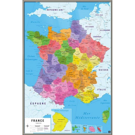 Map Of France In French Language.Map Of France Carte De France Poster Print Republique
