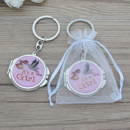 12 pcs of Baby Shower Pink Blue Stork Design Mirror Keychain Party Favor Set With Organza Bag New Born Baby Gift Ideas JK195G-PNK ()