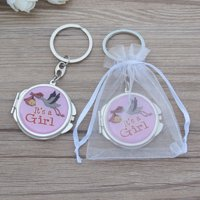 12 pcs of Baby Shower Pink Blue Stork Design Mirror Keychain Party Favor Set With Organza Bag New Born Baby Gift Ideas JK195G-PNK