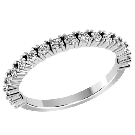 10K White Gold 0.59 Carat Round Diamond Stackable Band Ring