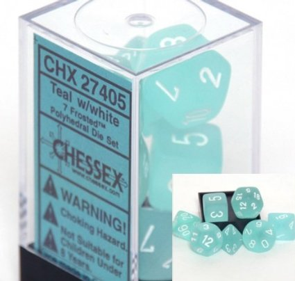 Chessex Dice: Polyhedral 7-Die Frosted Dice Set - Teal w/white