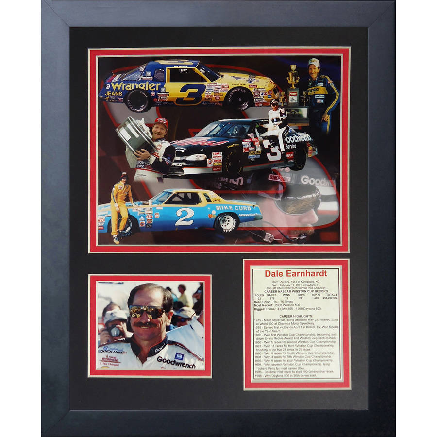 """Dale Earnhardt Sr."" Framed Photo Collage, 11x14, by Legends Never Die, Black by Legends Never Die, Inc"